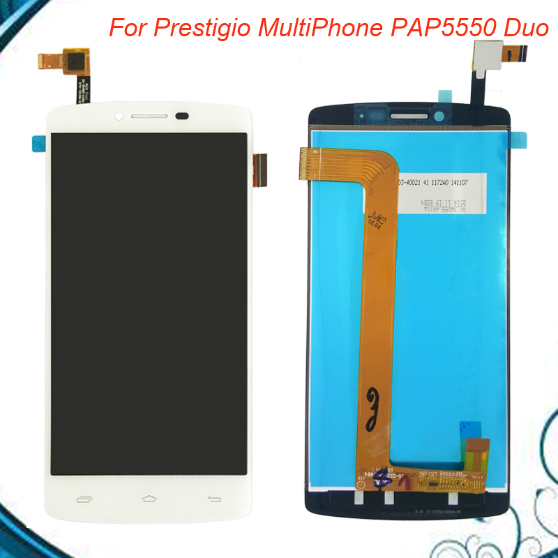 Black/White For Prestigio MultiPhone PAP5550 PAP 5550 DUO LCD Screen Display With Touch Screen Digitizer Assembly IN Stock