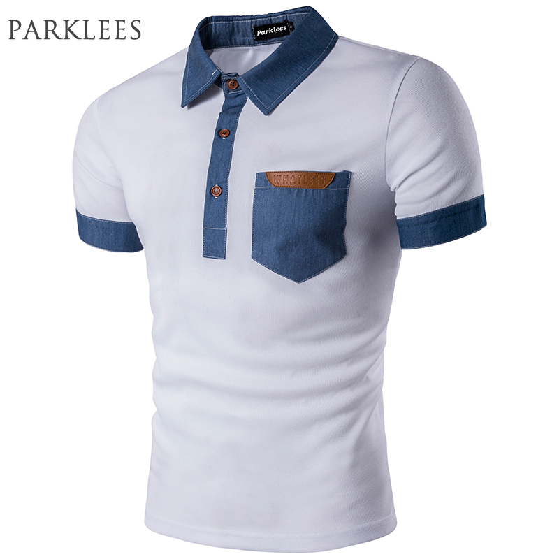 Brand White   Polo   Shirts Men 2017 Mens Denim Patchwork Pocket Slim Fit   Polo   Homme   Polo   Shirts Solid Color Turn Down Collar   Polos