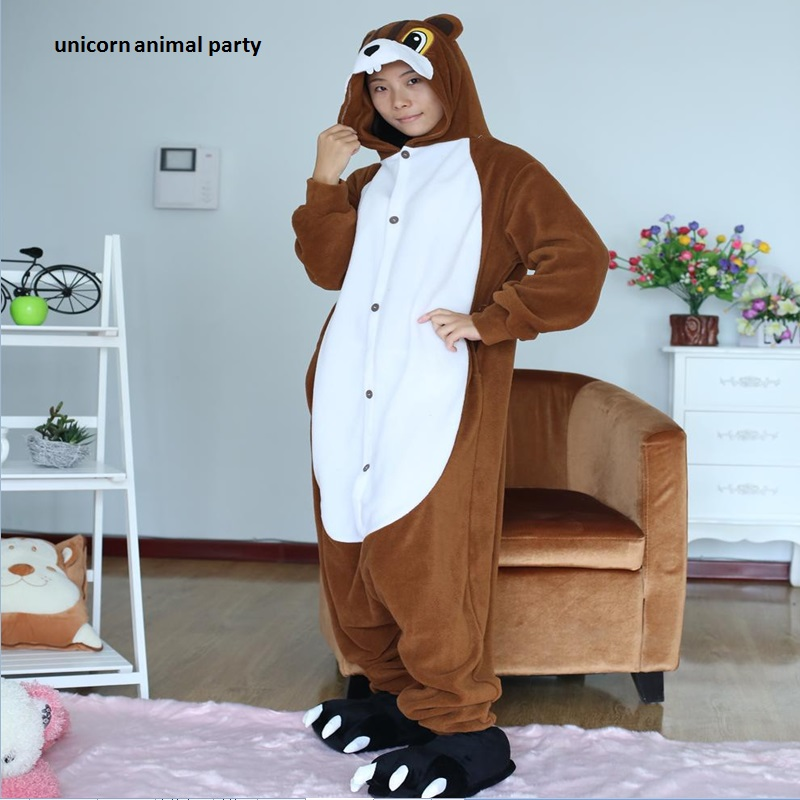 Kigurumi Cartoon Animal Conjoined Vuxen Animal Romper Unisex Jumpsuit Brun Ekor Onesie Pyjamas Jumpsuits Pajama Halloween