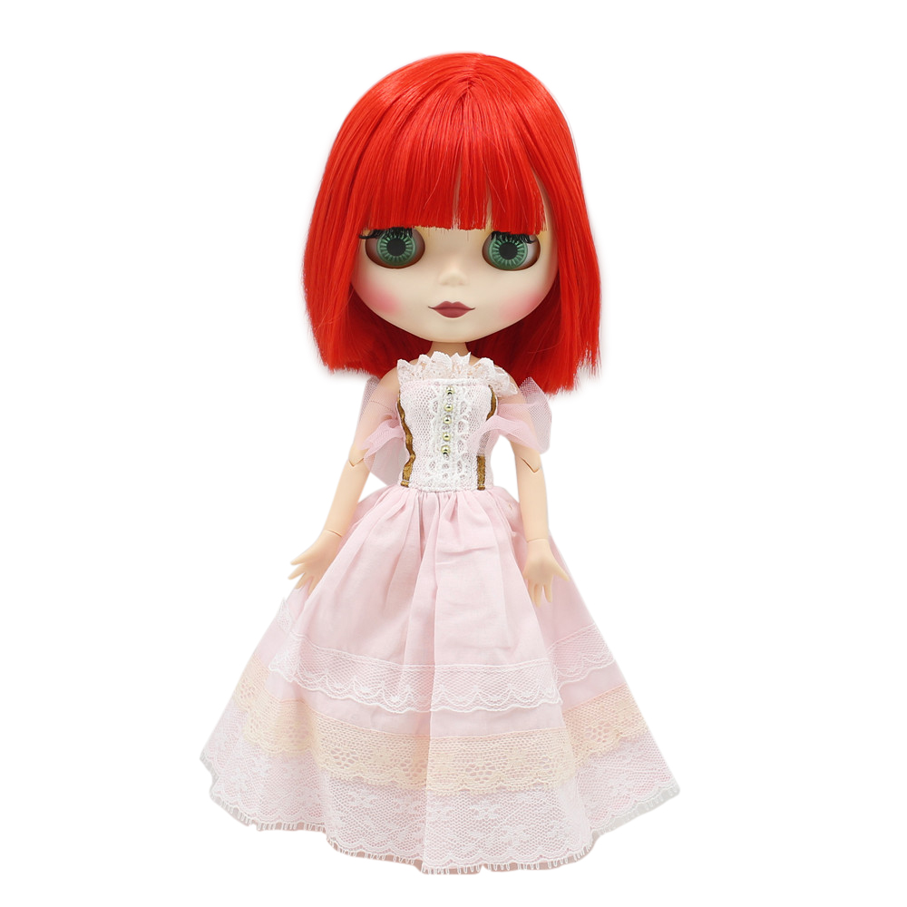 factory blyth doll short red hair with fringes joint body 1/6 30cm doll BL1061 matte face white skin factory blyth doll custom your doll choose hair face body skin only one doll design your own doll