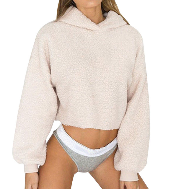 902f3084c Autumn Warm Cropped Hoodie Sweatshirts Womens Long Sleeve Jumper Pullover  Tops Casual Solid Hoodies Female Sweatshirt #20