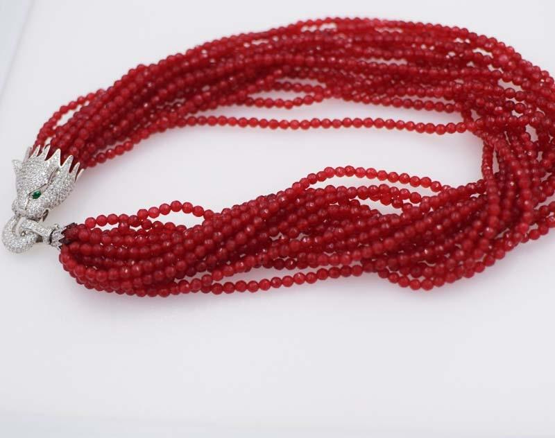 13rows կարմիր ժադե կլոր 4 մմ երեսպատման - Նուրբ զարդեր - Լուսանկար 3