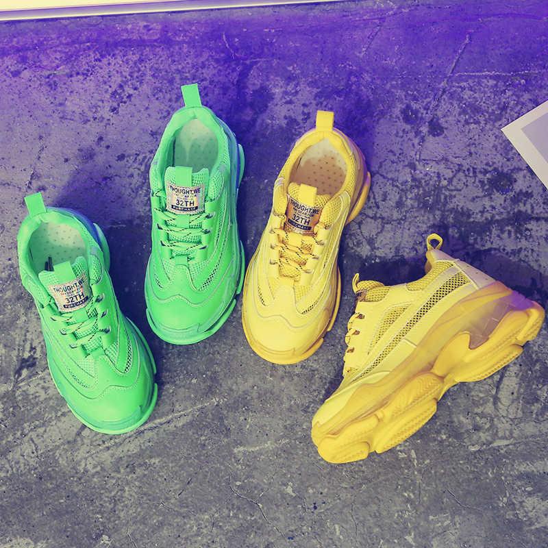2019 Kristal kadın Tıknaz Ayakkabı Yaz Nefes Örgü Rahat Açık spor ayakkabı Floresan Yeşil Dantel Baba Ayakkabı Sarı