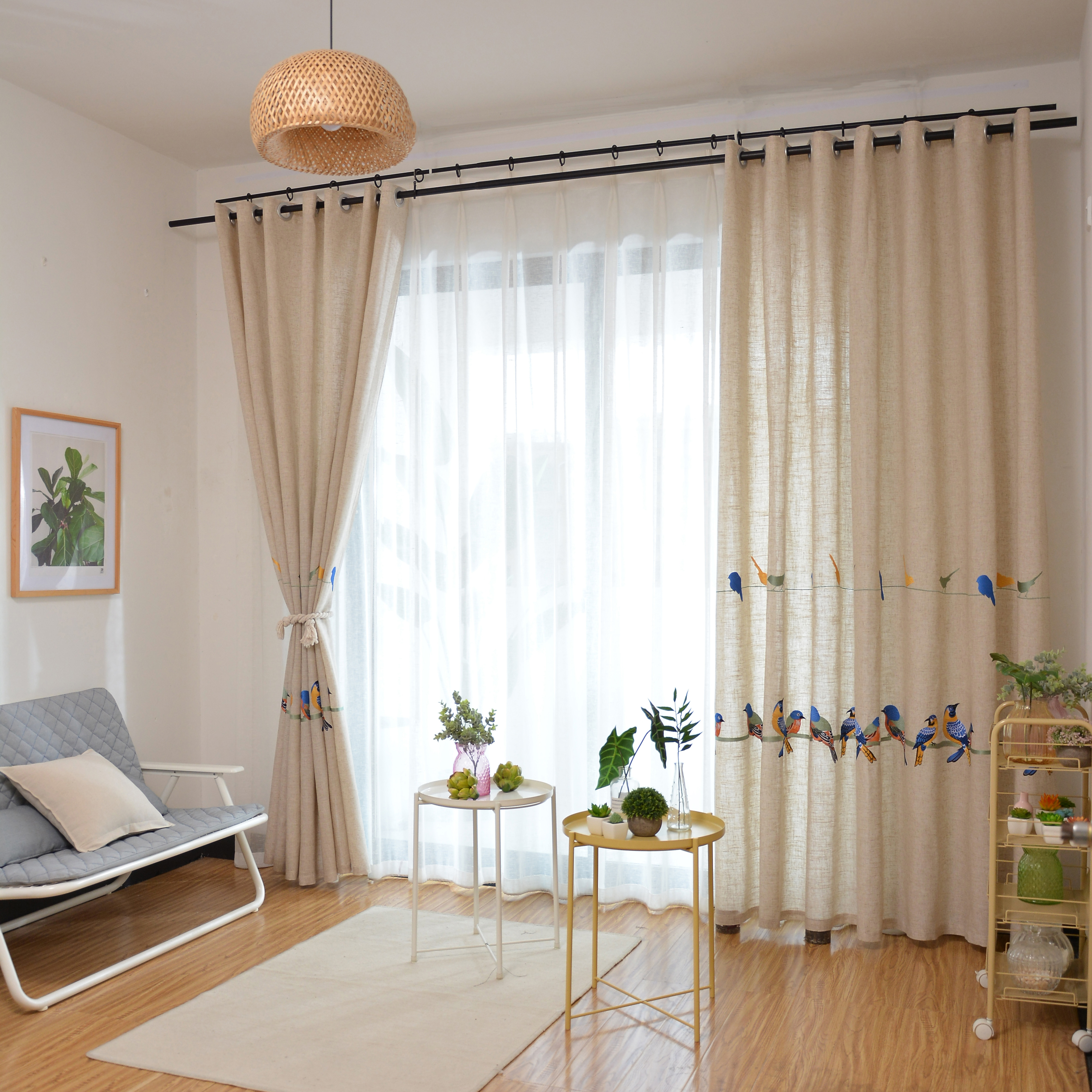 Image 4 - Cotton Linen Curtains for Living Room Bedroom Pastoral Curtain  with Embroidery Birds White Tulle Sheer Curtain Window  TreatmentCurtains