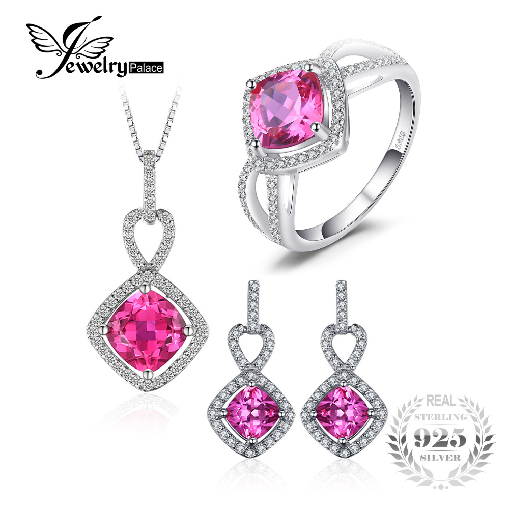 JewelryPalace 5.8ct Cushion Created Pink Sapphire Halo Ring Dangle Earrings Pendant Necklace Jewelry Sets 925 Sterling Silver все цены