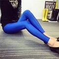 2016 Women's Candy Color Fluorescent Luster Leggings Slim Nine Pants Shiny Skinny Leggings Elastic Workout Leggings Women