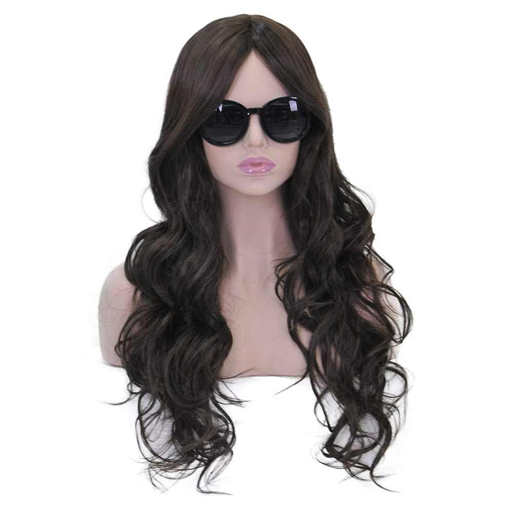 BESTUNG Long Curly Wavy Wigs for Women Ladies Synthetic Full Hair Natural Black Brunette Wig with Middle Parting Bangs