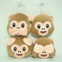 10pcs/lot  15cm Monkey Emoji Small Pendant Stuffed Animal Soft Plush Toys Key&Bag Chain Wholesale