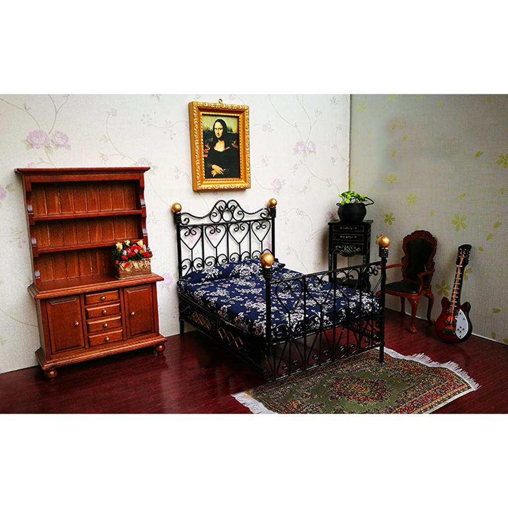 nuevo casa de muecas en miniatura de metal retro europeo cama doble dormitorio