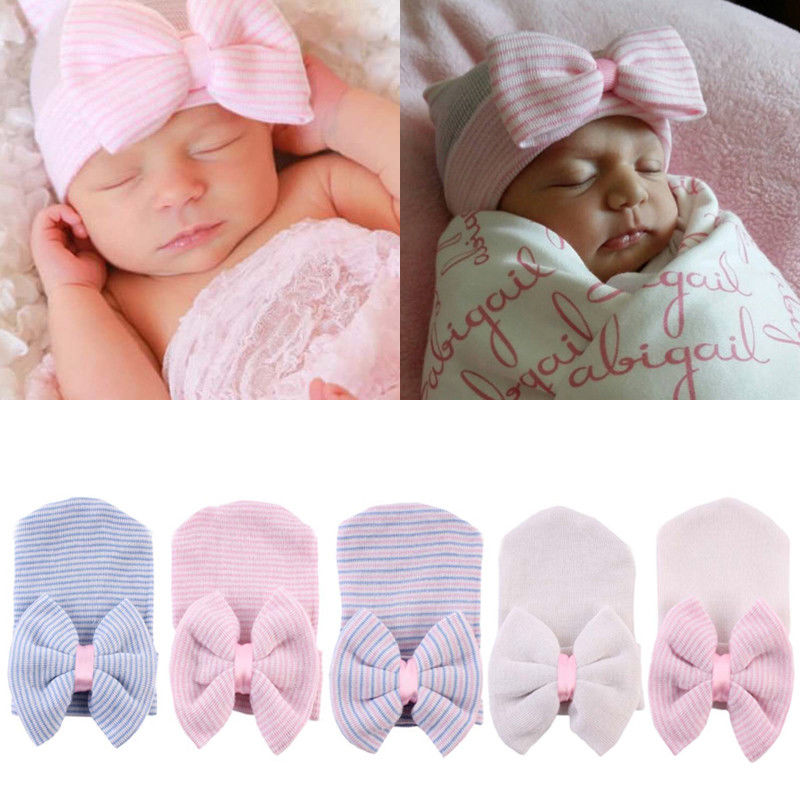 PUDCOCO Newest 2020 Cute Newborn Baby Infant Girl Comfy Bowknot Hospital Cap Warm Beanie Hat