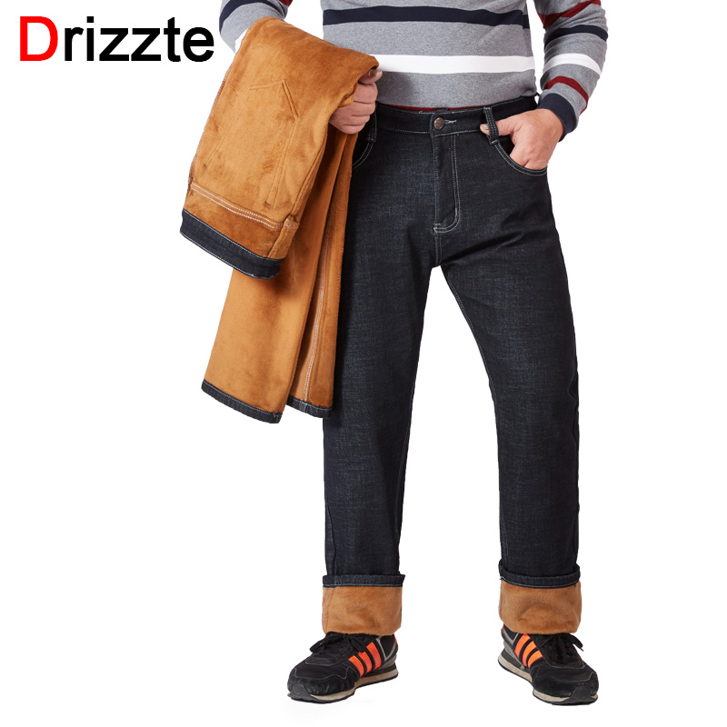 e28e30cb827 Drizzte Winter Fleece Warm Men Jeans for Big and Tall Plus Size 40 42 44 46  48 50 52 Black Jean Pants