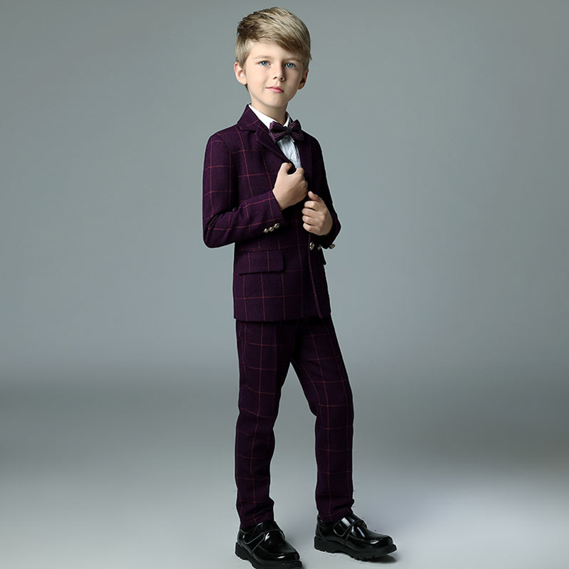 2018 winter new arrival boys kids blazers boy suit for weddings prom formal plaid wine red suits wedding boy cute suits 5pcs winter kids boys suits blazers thicker warm plus children suit boy blue plaid blazer party clothes wedding suits for boys