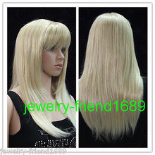 Wholesale heat resistant LY free shipping New wig Heat Resistant Pale Blonde Mixed Straight Medium Women