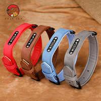 Hund Halsbänder, Personalisierte Leder Hund Kragen Name ID Tags Für Kleine Mittelgroße Hunde Pitbull Bulldogge Beagle Correa Perro