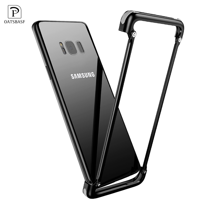 OATSBASF Luxury Airbag Metal Protection Case For Samsung Galaxy S8 Case lite Personality Shell for Galaxy S8 Plus Slim Metal Cas