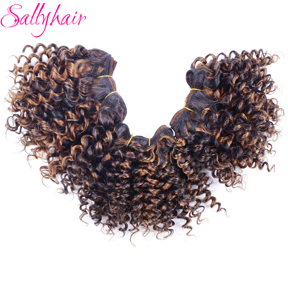 Sallyhair Afro Kinky Curly Բարձր ջերմաստիճանի սինթետիկ Մազերի Weft Extensions Extreme Crochet Hair Weave Ombre Color 3pc / lot Մազերի Weavings