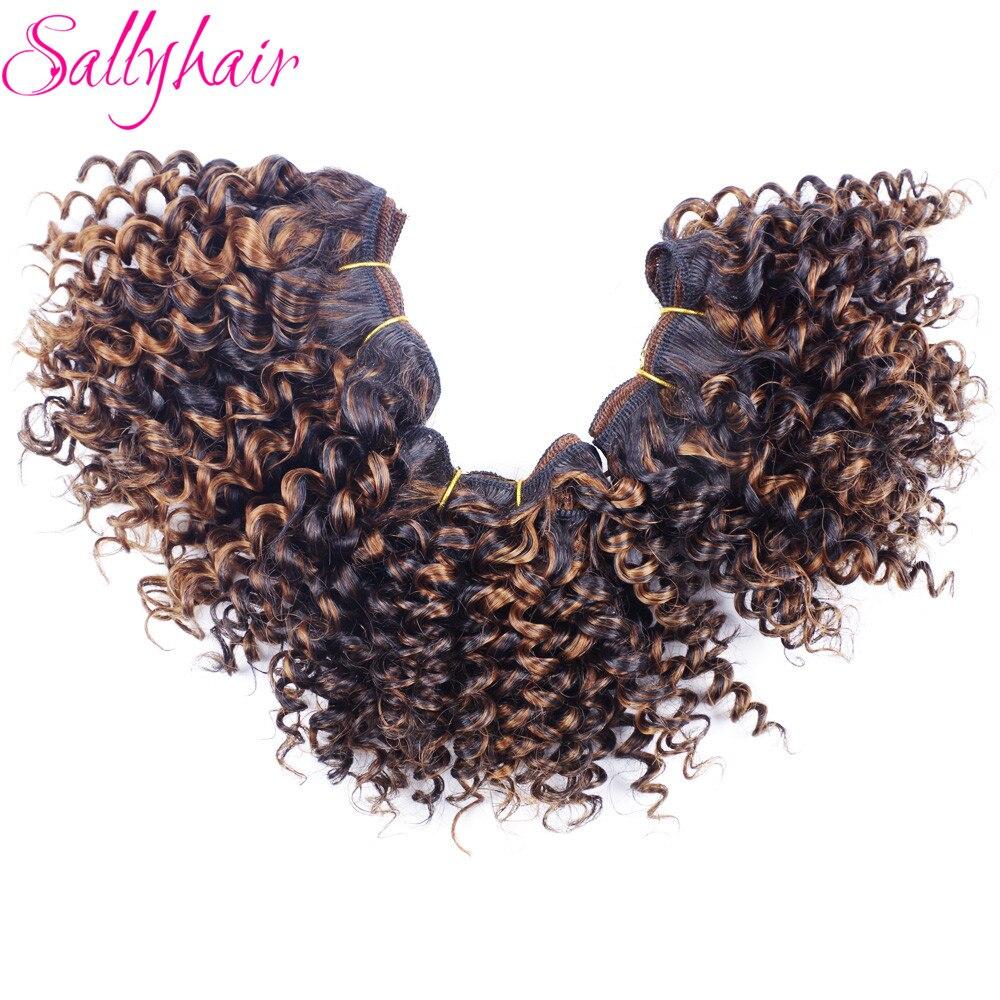 Sallyhair Afro Crépus Bouclés Haute Température Synthétique Extensions De Trame De Cheveux Crochet Armure De Cheveux Ombre Couleur 3 Pc/lot Tissages De Cheveux