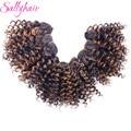 Sallyhair Afro rizado de alta temperatura extensiones de trama de cabello sintético de ganchillo de la armadura del pelo de Ombre Color 3 pzas/lote tejidos de cabello