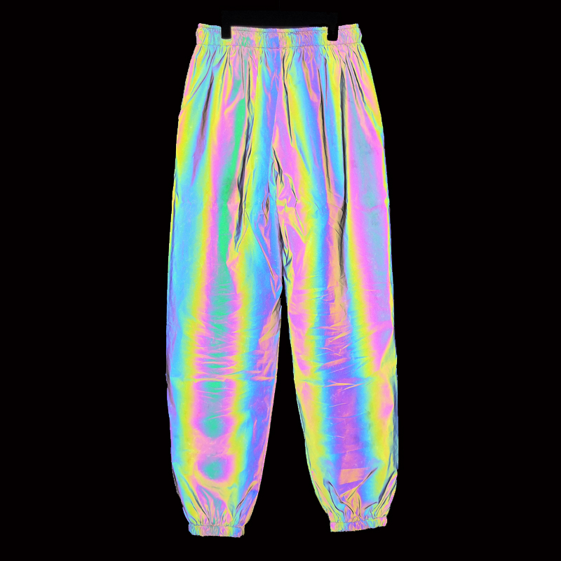 Rainbow Colorful Mens Reflective Pants Hip Hop Streetwear Night Light Jogger New