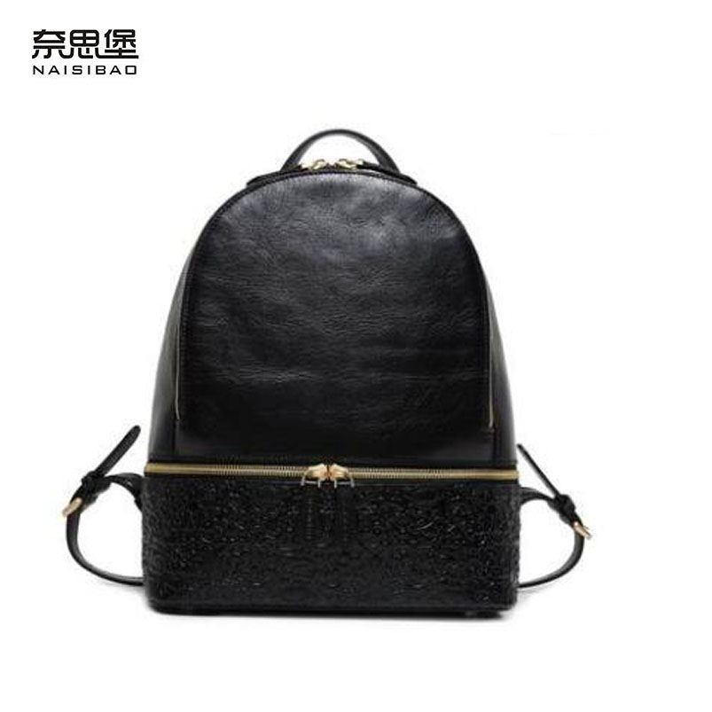 New women leather bag designer embossing top quality leather women backpack quality fashion women genuine leather backpack foxer 2018 new women genuine leather bag designer brand leather women backpack quality fashion casual women leather backpack