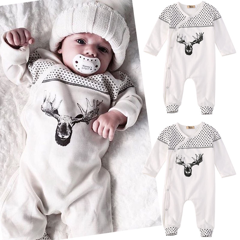 2016 Newborn Baby Girl Boy Clothes Long Sleeve Cotton Deer Romper Jumpsuit Playsuit Outfits XMAS One Pieces Bebes Suit 0-18M 2016 fashion baby boy girl romper clothes autumn winter warm bebes playsuit zipper long sleeve jumpsuit one pieces outfits suit