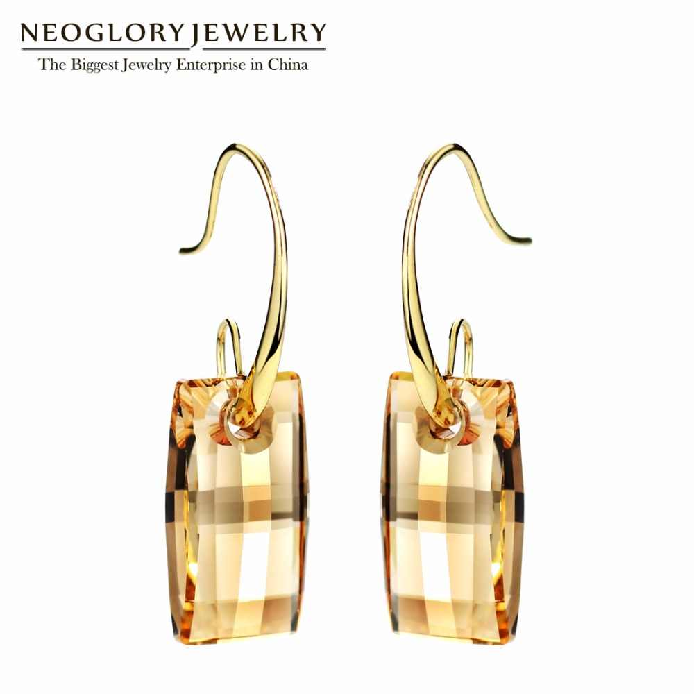 Neoglory Chandelier Hook Long Big Dangle Earrings for Women 2019 Bridesmaid Embellished with Crystals from Swarovski