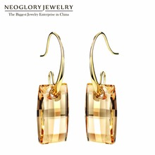 Neoglory MADE WITH SWAROVSKI ELEMENTS Crystal Platinum Plated Dangle Drop Earrings Trendy For Women 2014 Spring New Arrival Gift neoglory chandelier blue austrian crystal earrings dangle long star earrings rhinestone earrings for women 2018 new brand gift