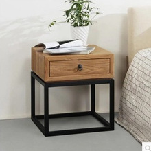 Zhengtian home retro classic wrought iron wood bedroom furniture bedside cabinet bedside cabinet simple
