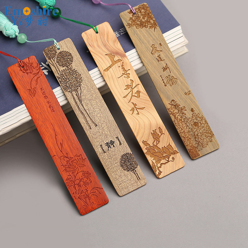 Retro Wooden Bookmarks Creative Business Gifts Chinese Bookmarks Wooden Weeding Gift Mahogany Bookmarks Custom Logo Name M020
