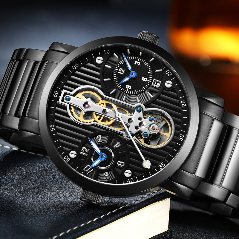 GUANQIN Top Brand Creative Automatic Men Watch Luxury Tourbillon Skeleton Full Steel Waterproof Mens Business Mechanical Watches tourbillon business mens watches top brand luxury shockproof waterproof skeleton watch men mechanical automatic wristwatch