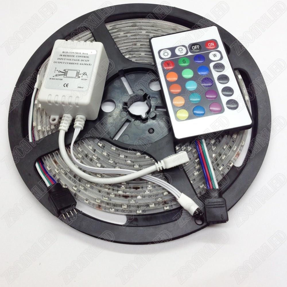 Waterproof IP65 RGB SMD 3528 5m 60leds/m DC12V Flexible LED Strip light tape + 12V 24keys IR remote controller + Mini receiver