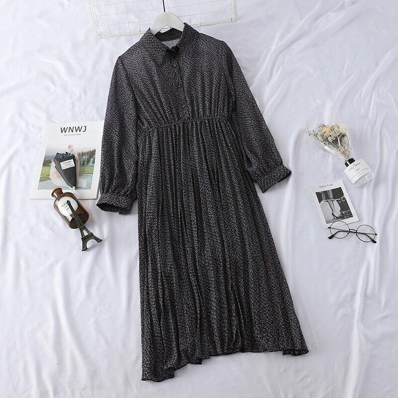 HELIAR 2019 Spring Women Dress Elegant Evening Party Elastic A-Line Chiffon Dress Lady Floral Print Pleat Casual Dresses 3