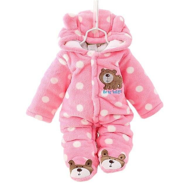 Мужская Cute Bear Baby Rompers Зима Сгустите Детская Одежда 3 Цветов для Новорожденного Ребенка Ползунки CL0430