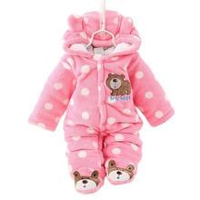 유니섹스 귀여운 곰 아기 Rompers 겨울 Thicken 아기 의류 3 색 새로운 태어난 아기 Romper CL0430