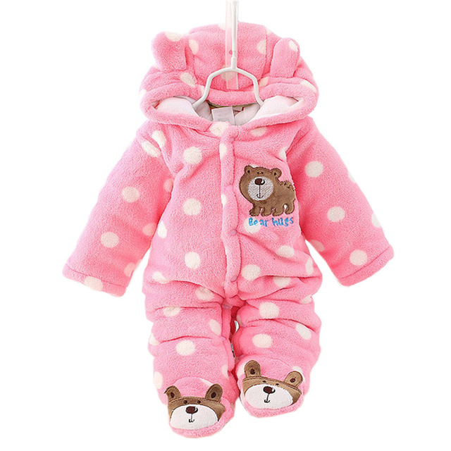 Unisex Bonito Do Urso Do Bebê Macacão de Inverno Engrossar a Roupa Do Bebê 3 Cores para o Bebê Recém-nascido Romper CL0430