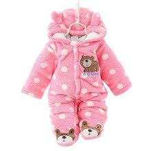 Unisex bonito urso bebê macacão inverno engrossar roupas de bebê 3 cores para recém nascido bebê macacão cl0430