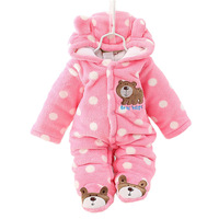 Unisex Cute Bear Baby Rompers Winter Thicken Baby Clothing Hooded Bodysuit For Babies 3 Colors For