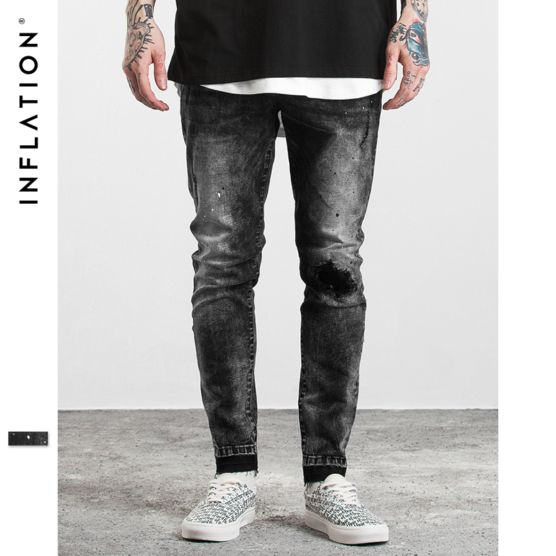 INFLATION Men s Sim-fit Jeans Stretch Destroyed Ripped Design Fashion Ripped Skinny Jeans For Men hip hop black Jeans 323W17 new brand hi street for men ripped biker jeans hip hop skinny slim fit black denim pants destroyed swag joggers kanye west