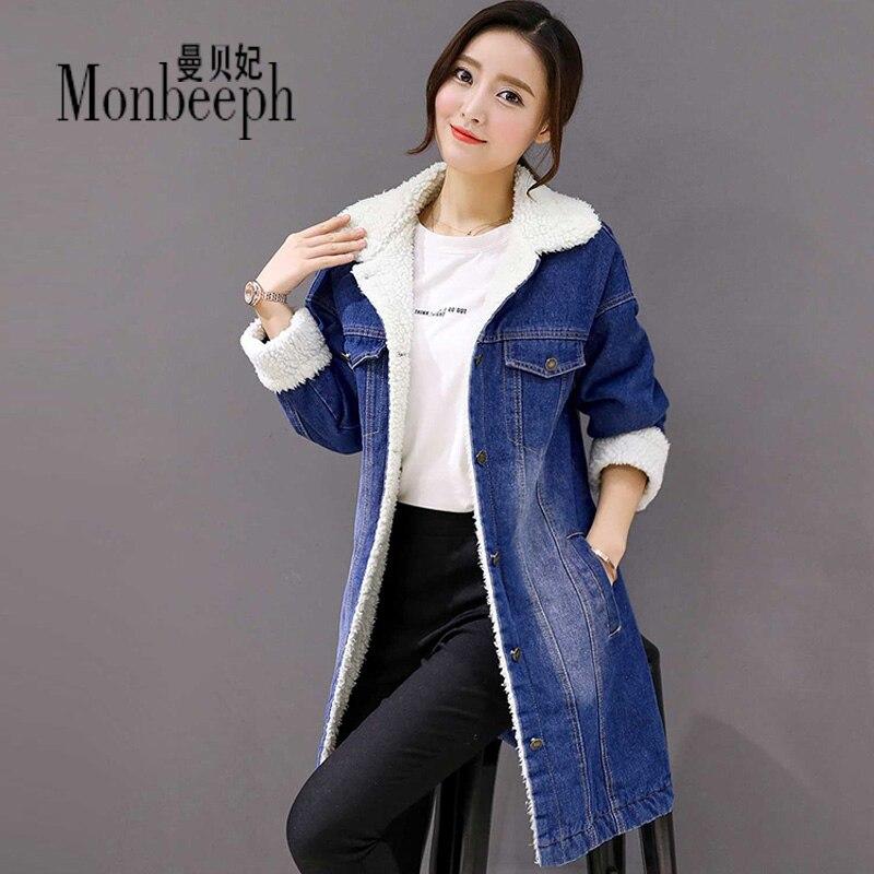 Winter Thickened Denim <font><b>Jackets</b></font> slim Cashmere Wool Warm Cotton Jeans Coats Women Casual Female Monbeeph Large Size S-3XL 4XL