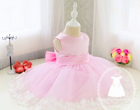 Pink Infant Glitz Pageant Dress knee-length flower girls dress tiered with big bow 1st birthday outfit недорго, оригинальная цена