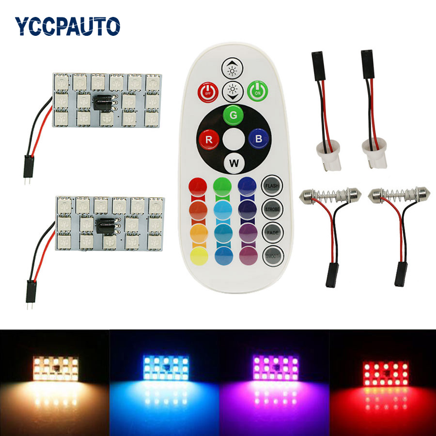 Festoon Dome 31/36/39/41 mm RGB T10 LED Panel Car Auto Interior Reading Map Lamp 15 Lights w/ Remote Control Flash Strobe
