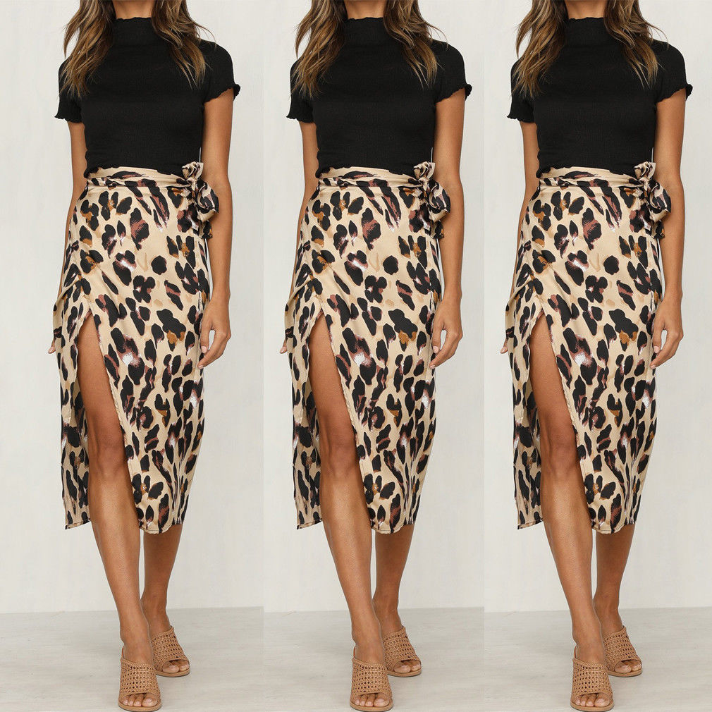 Women Skirts Bandage Bodycon Leopard Evening Party Club Short Midi Skirts Sexy Women Clothes Fashion