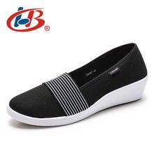 Купить с кэшбэком LIBANG 2019 High Canvas Shoes Comfortable Platform Shoes Women Thick Heels Wedgs Shallow Shoes Platform Wedges Female Footwear