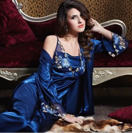 Plus Size Lace Silk Satin Robe Pajama Set Nightgown Nightdress Sleepwear  bathrobe pijama feminino Women ladies Sexy blue d421ada42