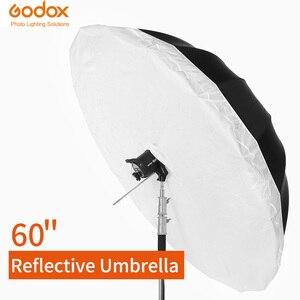 Image 1 - Godox студийный фотографический Зонт 60 дюймов 150 см черный серебристый отражающий зонт + большой диффузор для студийной съемки