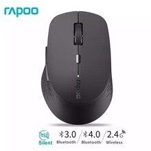 Mouse sem fio silencioso multimodo rapoo, com 1600dpi bluetooth 3.0/4.0 rf 2.4ghz para três conexão de dispositivos