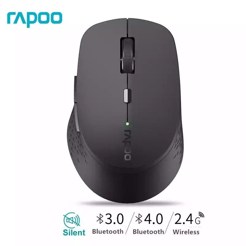 Novo rapoo m300 multi-modo silencioso mouse sem fio com 1600 dpi bluetooth 3.0/4.0 rf 2.4 ghz para três dispositivos de conexão