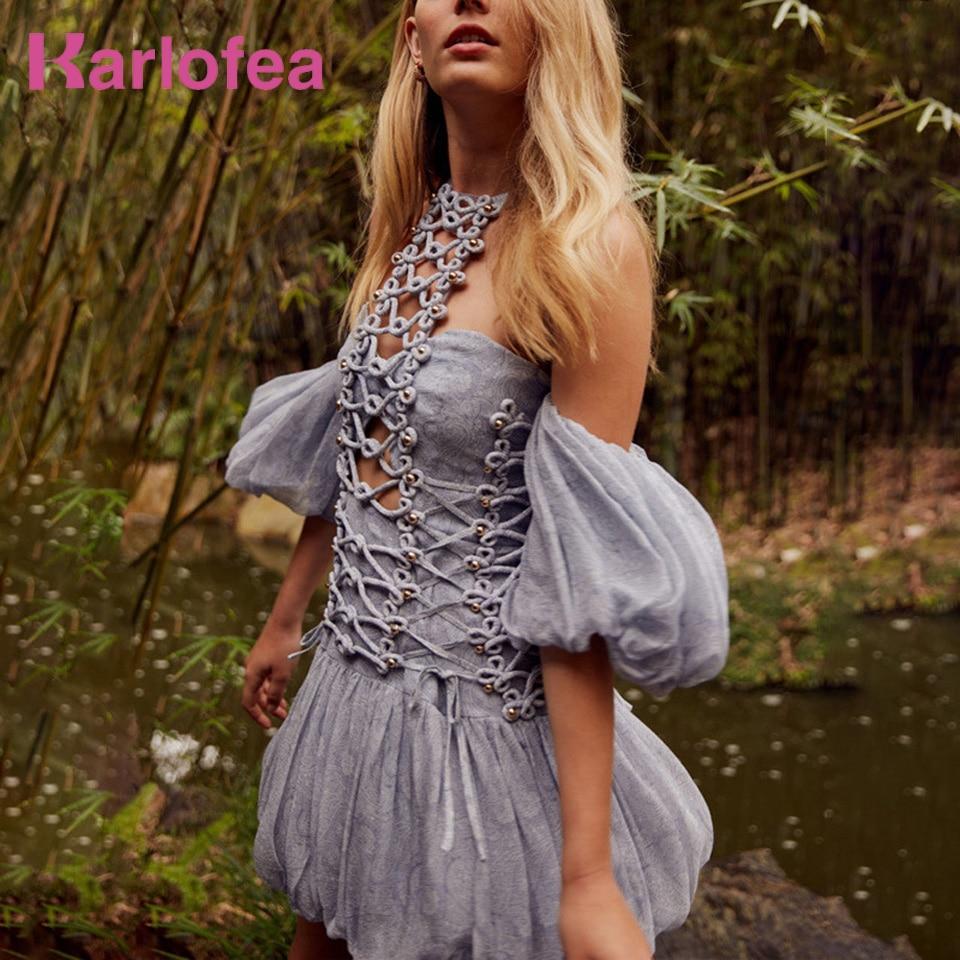 Karlofea Chiffon Mini Vrouwen Jurk Chic Vintage Print Hollow Out Beach Vakantie Dragen Hoge Kwaliteit Nieuwe Dames Zomer Outfit Jurk-in Jurken van Dames Kleding op  Groep 1