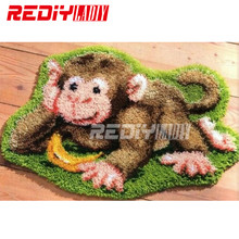 New 3D Latch Hook Rug Kits DIY Needlework Unfinished Crocheting Rug Yarn Cushion Mat Embroidery Carpet Rug Monkey with Banana(China)