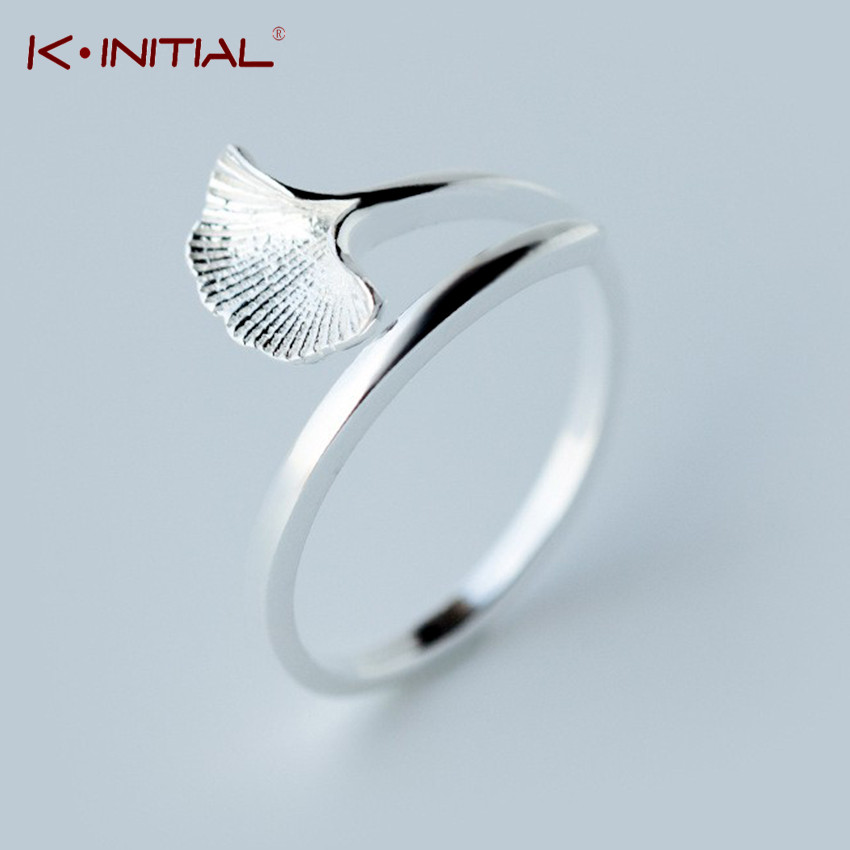 Kinitial 925 Sterling Silver Gingko Leaf Shape Finger Classic Ring for Women Wedding Original Fine Whale Tail Ring Jewelry Gift
